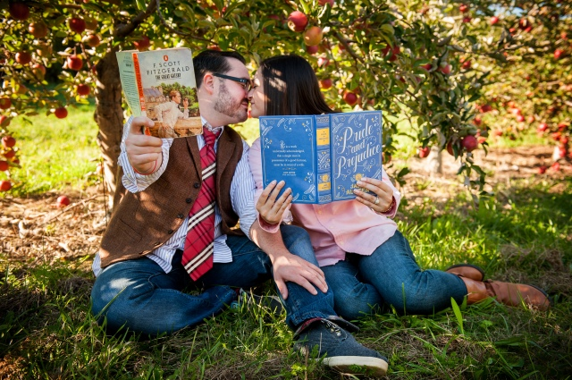 Apple orchard engagement photo
