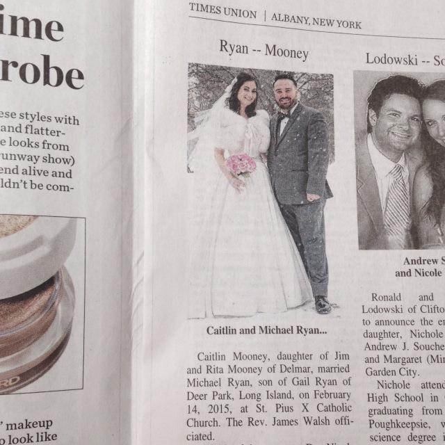 Wedding announcement newspaper
